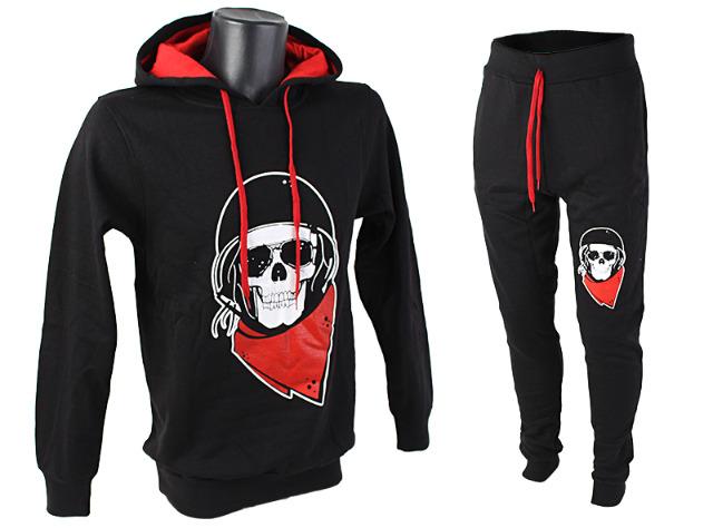 Herren Jogging Anzug Totenkopf Skull Sportanzug Baumwolle Trainingsanzug Trainingsjacke Jogginganzug Hausanzug - 9,99 Euro