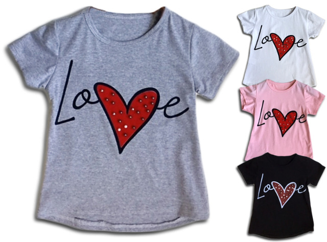 Kinder Mädchen Sommer Trend T-Shirt Herz Love Oberteil Kindershirts T-Shirts Shirt Shirts Kurzarm - 5,90 Euro