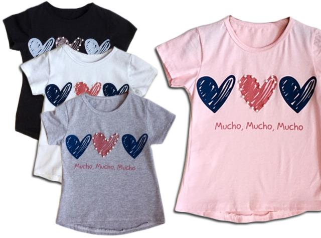 Kinder Mädchen Sommer Trend T-Shirt Herz Perlen Oberteil Kindershirts T-Shirts Shirt Shirts Kurzarm - 5,90 Euro