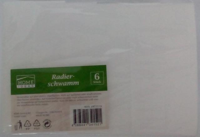 12-2953519, Radierschwamm 6er Pack, Sonderposten  REWE   Der Radierer
