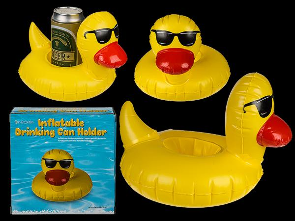 Aufblasbarer Getränkedosenhalter, Badeente mit Sonnenbrille, ca. 22 x 14 cmInflatable drinking can holder, Bathing duck with sunglasses, c