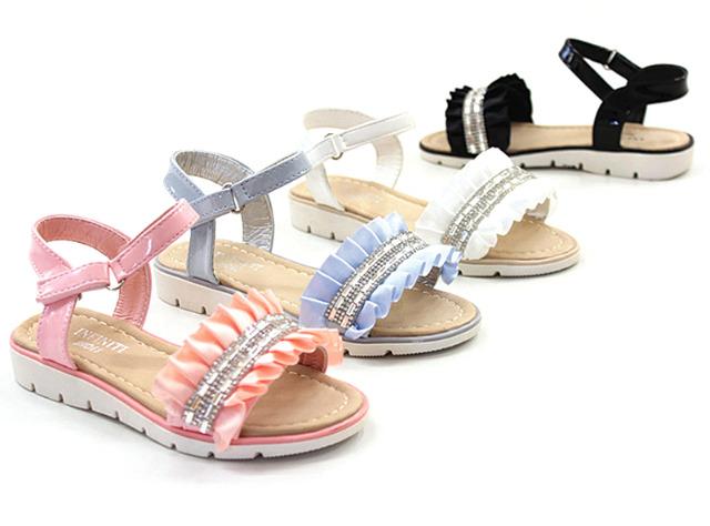Kinder Mädchen Sommer Sandale Lack Strass Steine Glitzer Größen 19-36 Sandalette Slipper Schuh nur 6,90 Euro