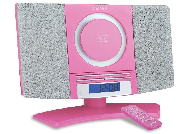 Denver MC-5220 rosa wandmontierbarer CD Player mit FM Radio, Uhr mit Weckfunktion und Fernbedienung Wecker Radiowecker Stereoanlage