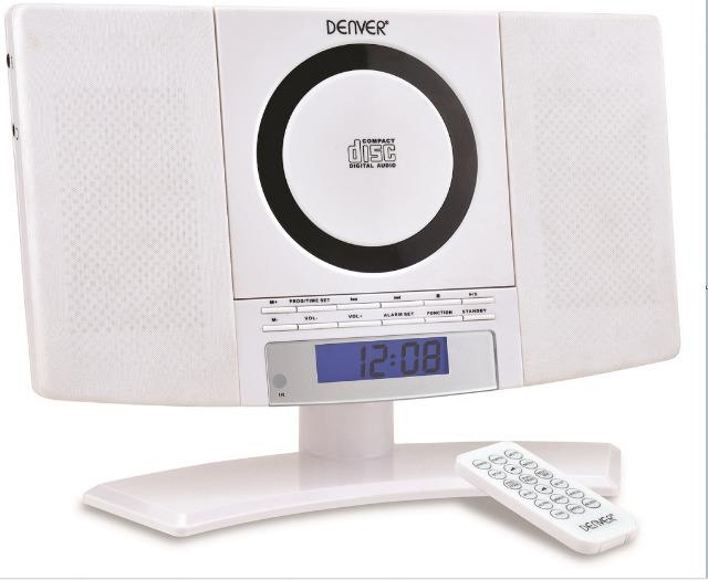!Denver MC-5220 weiß Stand und Wand CD Player mit FM Radio, Uhr mit Weckfunktion und Fernbedienung Wecker Radiowecker