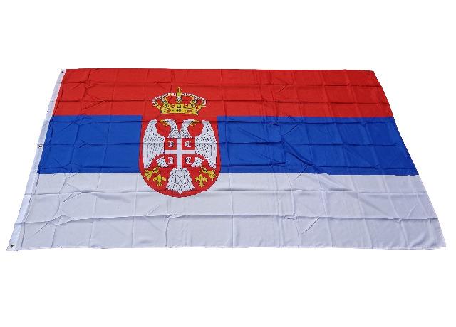 Flagge Fahne Serbien 250 x 150 cm mit 2 Ösen 100g/m² Stoffgewicht Hissfahne Hissflagge WM EM Sturmfahne Sturmflagge