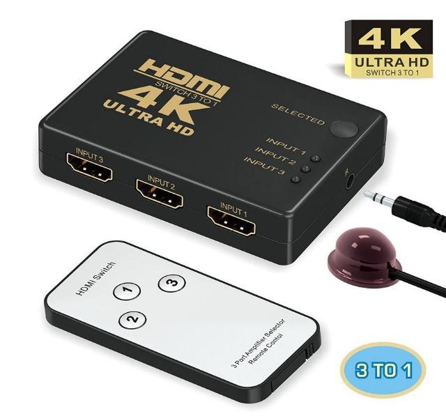 HDMI Switcher 4k,GANA 3 Port HDMI Switch mit Fernbedienung