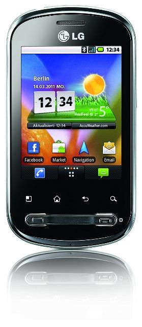 LG P350 Optimus Me Smartphone (7,11 cm (2,8 Zoll) Display, Touchscreen, Android OS, 3 Megapixel kamera)