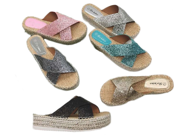 Damen Woman Sommer Trend Espadrilles Slipper Pantolette Metallic Look Glitzer Sandale Slip on Schuh Shoes Business Freizeit nur 9,90 Euro