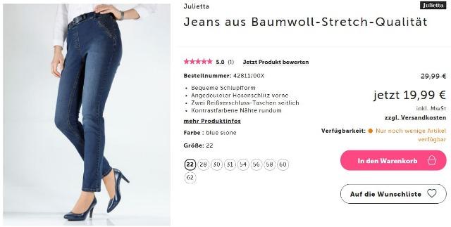 Damen Jeans aus Baumwoll-Stretch-Qualität in Große 30 (60) und 31 (62)