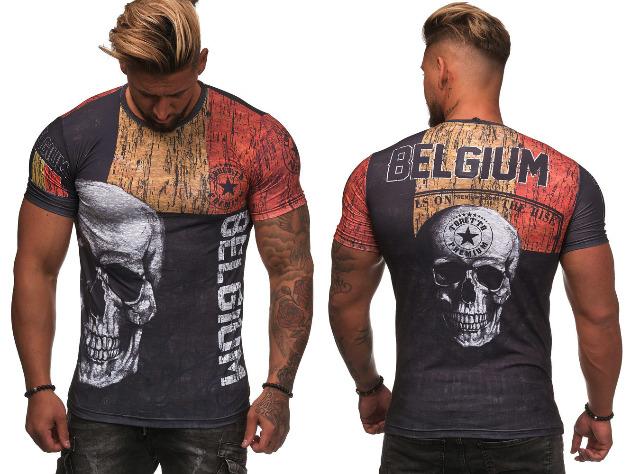 Herren Men T-Shirt WM Fan Länder Shirt Belgien Belgium Totenkopf Skull Kurzarm Rundhals Motivdruck T-Shirts - 6,90 Euro