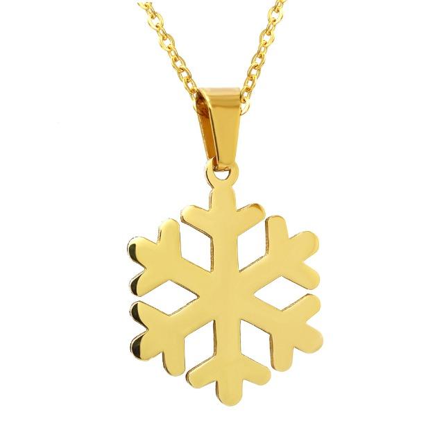 Schmuck Edelstahl Halskette Anhänger Damenkette Ketten Hochglanz Schneeflocke Gold