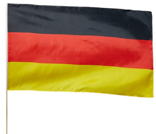 17-14702, Fahne BRD 60x90 cm, am 110 cm Holzstiel, Länder Flagge