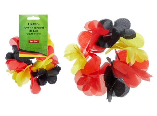 17-14989, Blüten-Armband, Haarband 2er Set, Deutschland, BRD Farben, Hawaiiarmband, Blumenkette, Party, Event, usw