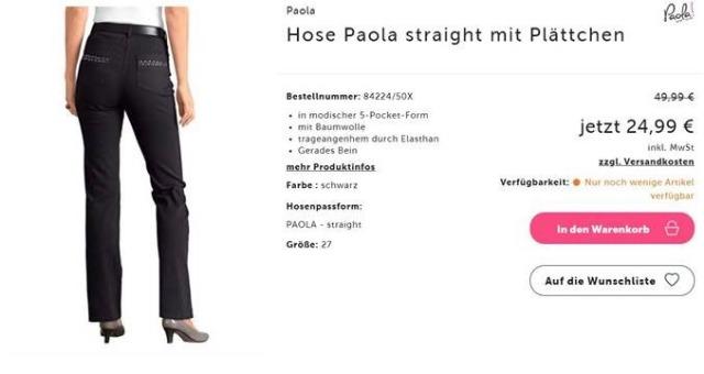 Hose Paola Straight mit Plättchen In modischer 5- Pocket- Form in Größe 27(54)