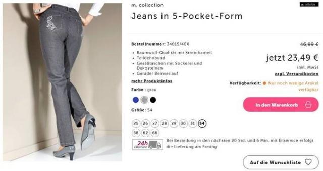 Jeans in 5- Pocket Form ab große 52