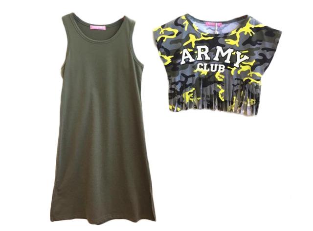 Kinder Mädchen Sommer Trend Kleid und Shirt 2-teilig Camouflage Fransen Strandkleid Longshirt Oberteil Sweatshirtkleid - 6,90 Euro