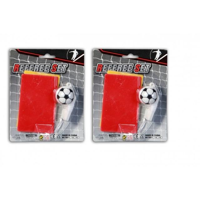 Schiedsrichter Set 3-teilig, bestehend aus roter und gelber Karte so wie einer Trillerpfeife im Fussballdesign
