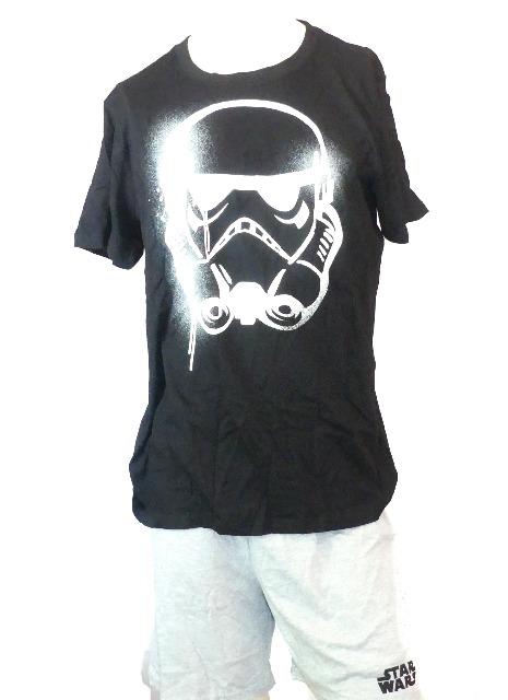 Schlafanzug Pyjama kurz Herren Star Wars Hose und T-Shirt Shorty Set Sommer kurzarm