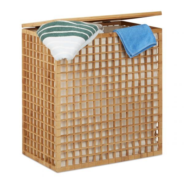 Bambus Wäschesammler mit 2 Fächern