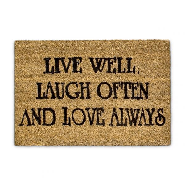 Fußmatte Live Laugh Love Kokos 40x60 cm