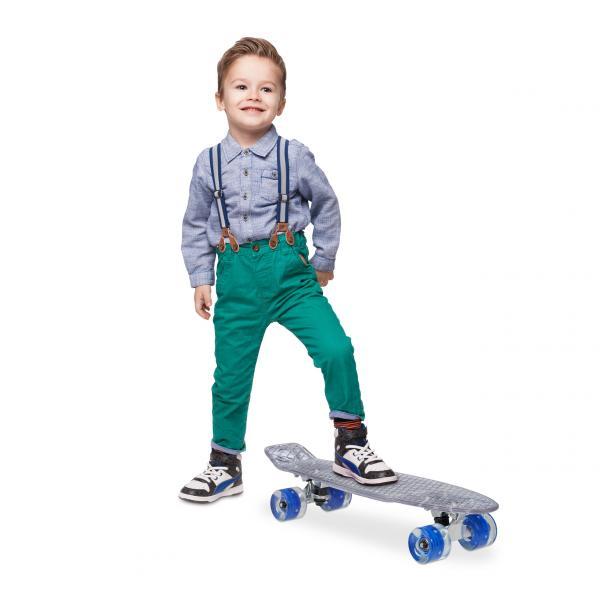 Skateboard transparent mit LED-Rollen