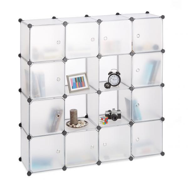 Steckregal Kunststoff mit 16 Fächern