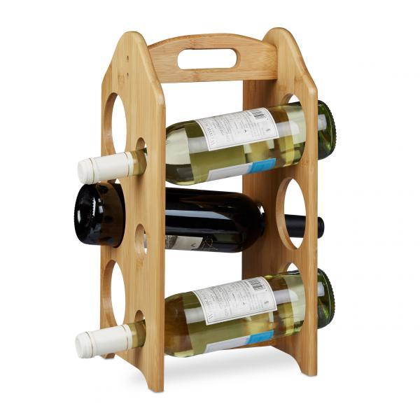 Weinregal Bambus 6 Flaschen mit Griff
