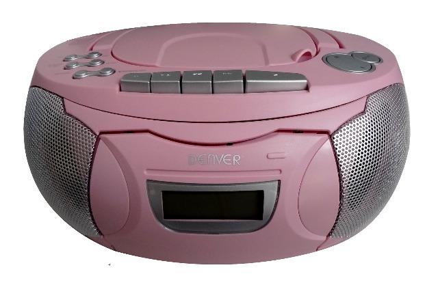 DENVER TCP-39 pink portabler CD Player und Kassettenspieler, FM-Radio, 2x1W RMS AUX Musikplayer Ghettoblaster Kopfhöreranschluss Kassette