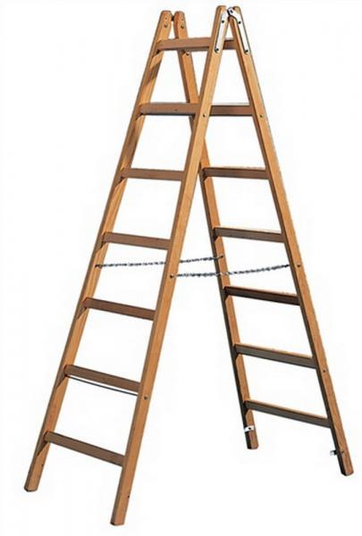 Holzsprossenstehleiter 2x4Sprossen L.1200mm/äußere B.470mm Holm 23x60
