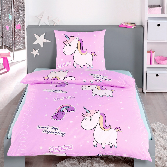 Einhorn Bettwäsche Bettbezug 135x200 + 80x80 Kissenbezug Heimtextilien