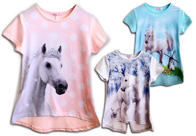 Kinder Mädchen Trend T-Shirt Pferd Einhorn Longshirt Tunika Oberteil Kindershirts T-Shirts Shirt Kurzarm - 4,90 Euro