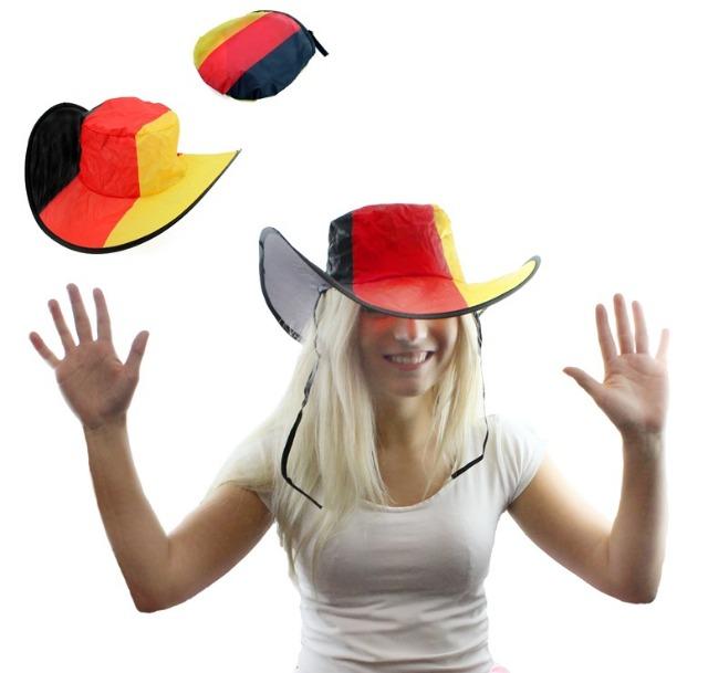 27-15498, Cowboyhut faltbar in Deuschlandfarben, inklusive Aufbewahrungstasche Fanut, BRD Farben, Party, Event, Fanmile