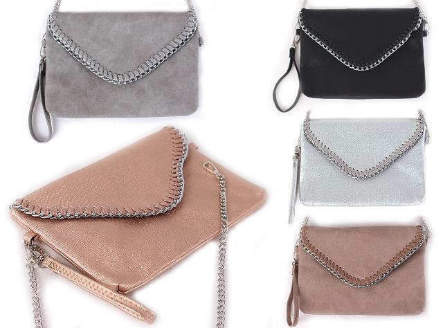 Damen trend Tasche Abendtasche Klein Handtasche Clutch Schultertasche Umhängetasche Kettentasche Ketten Metallic Lederlook Glitzer - 10,90 E