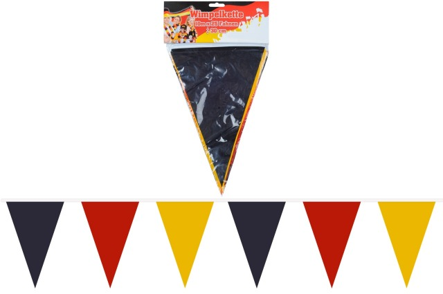 27-83863, Wimpelkette Deutschland 10 Meter Wimpelgirlande, BRD Farben, Party, Event, Fanmile, usw