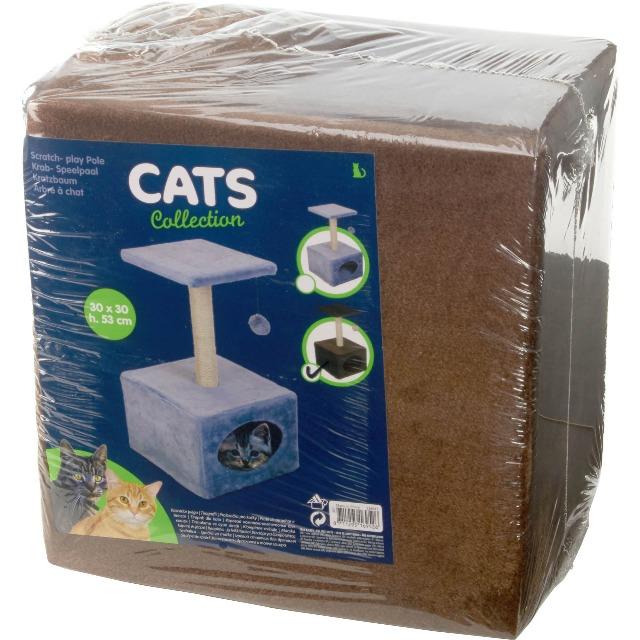 28-169526, Kratzbaum für Katzen mit Haus, mit Spielbommel