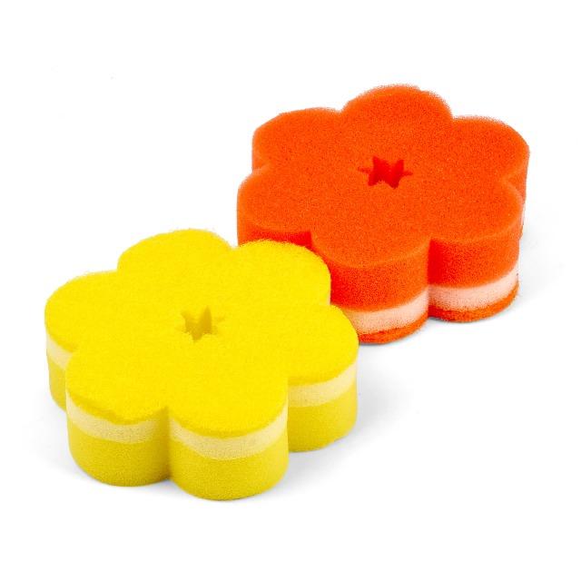 28-457159, Badeschwamm 2er Pack in Blütenform weiche und rauhe Seite
