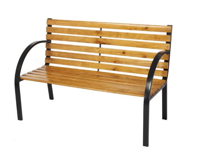 Holz/Metall Bank Gartenbank Parkbank 122x60x80cm