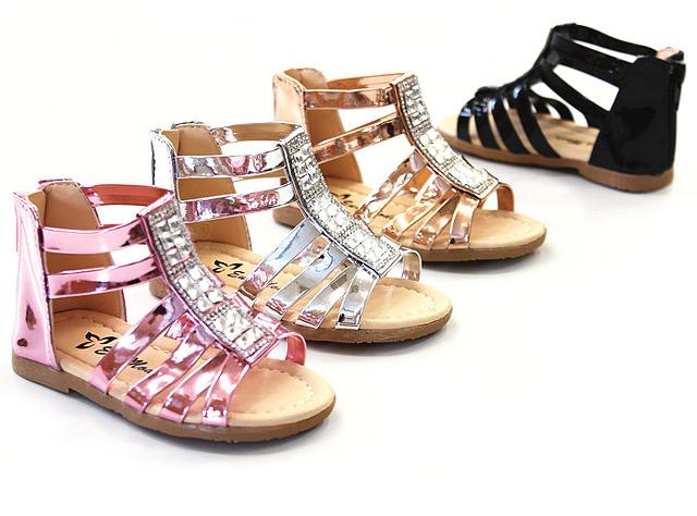 Kinder Mädchen Trend Sommer Metallic Sandale Glanz Sparkle Größen 19-24 Sandalette Slipper Schuh - 6,90 Euro