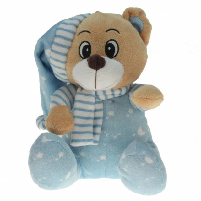 10-132230, verträumte Plüsch Schlaf-Bären 15 cm sitzend, NUR BLAU, inkl. Schlafmütze und Schal, Plüschbär, Kuscheltier
