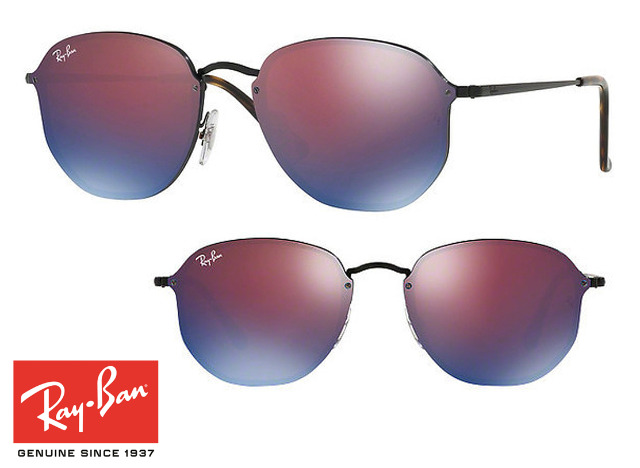 Topmodische Ray-Ban Blaze Hexagonal RB3579N 153/7V Sonnenbrille Blau Unisex Design Sonnenbrillen Sunglasses Brille Brillen