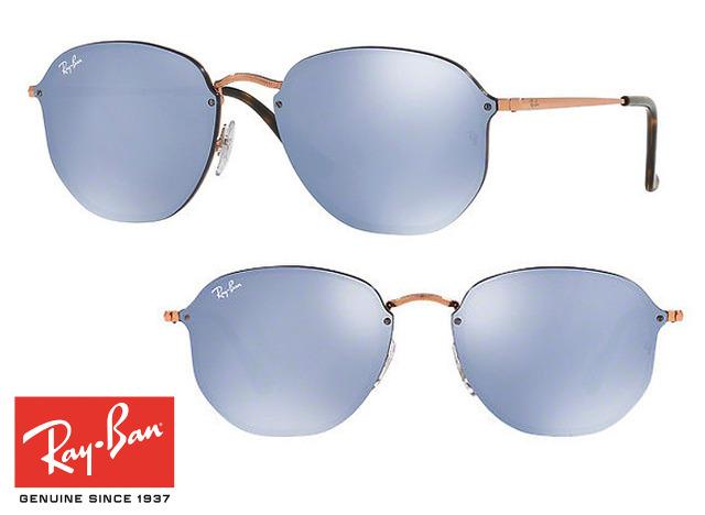 Topmodische Ray-Ban Blaze Hexagonal RB3579N Sonnenbrille Blau Verspiegelt Unisex Design Sonnenbrillen Sunglasses Brille Brillen
