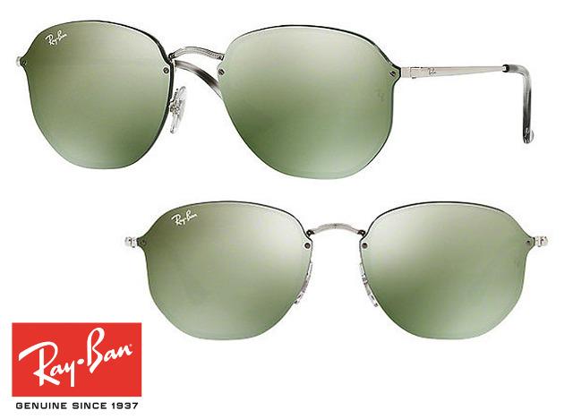 Topmodische Ray-Ban Blaze Hexagonal RB3579N Sonnenbrille Grün Verspiegelt Unisex Design Sonnenbrillen Sunglasses Brille Brillen