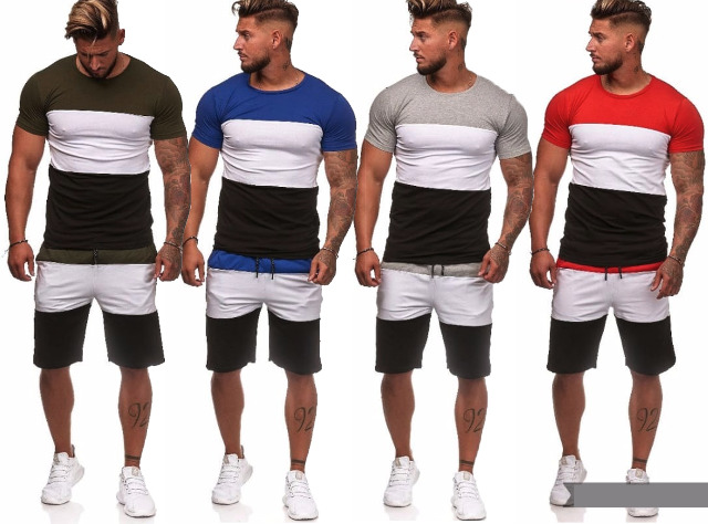 Herren Trend Jogging Anzug Streifen Sportanzug Trainingsanzug T-Shirt Kurze Hose Jogginganzug Hausanzug - 12,90 Euro