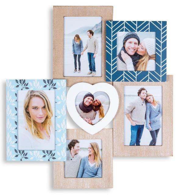 Bilderrahmen Collage Holz 42,5x39cm Herz 6 Fotos Format Shabby chic vintage blau weiß natur