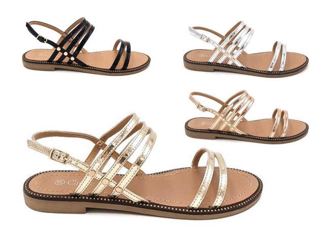 Damen Woman Sommer Trend Sandalette Metallic Glanz Sparkle Riemchensandale Schuh Shoes Business Freizeit nur 9,90 Euro