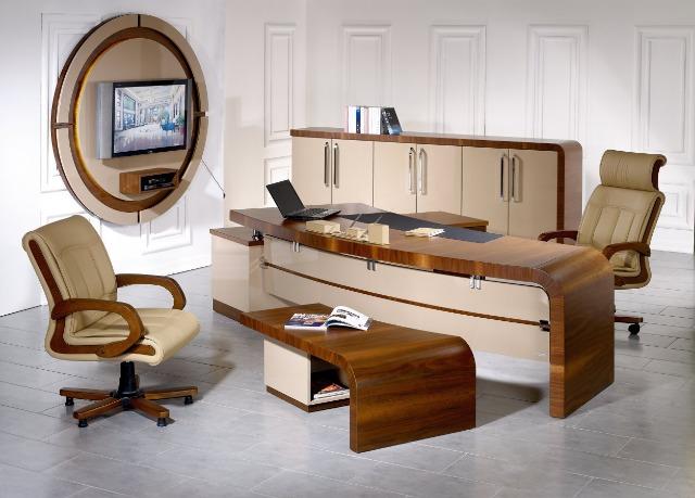 Büro Möbel Chefzimmer Chefschreibtisch Chefbüro - Stock