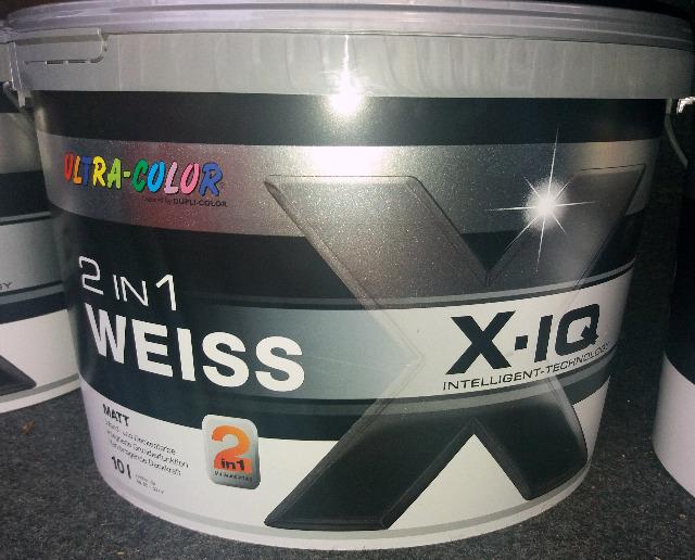 Ultra Color Wandfarbe weiss matt 2in1 10 Liter Eimer X-IQ