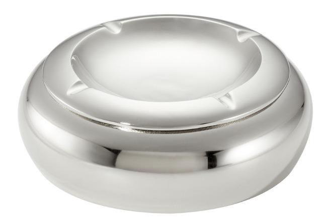 17-63484, Metall Aschenbecher, silber 14 cm