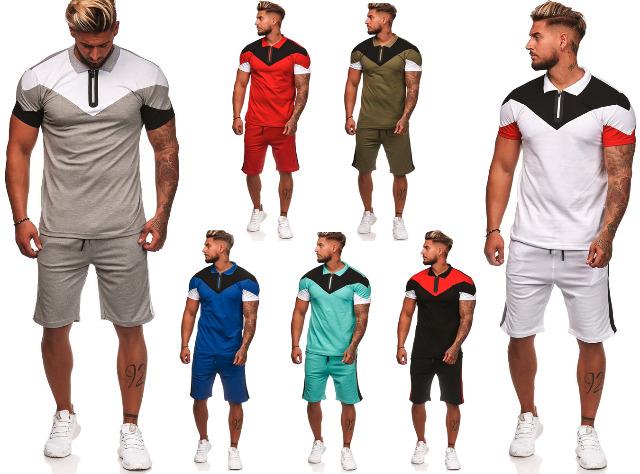 Herren Trend Streifen Jogging Anzug Sportanzug Trainingsanzug Polo T-Shirt Kurze Hose Jogginganzug Hausanzug - 12,90 Euro