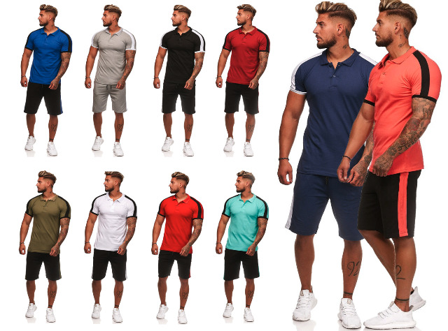 Herren Trend Streifen Jogging Anzug Sportanzug Trainingsanzug T-Shirt Kurze Hose Jogginganzug Hausanzug - 12,90 Euro
